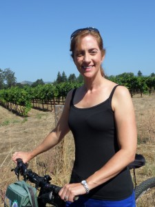 Biking between the vine rows in the Carneros region